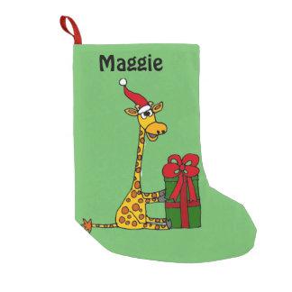 Lustige Giraffe mit Weihnachtspaket Kleiner Weihnachtsstrumpf