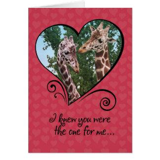 Lustige Giraffen-Valentinstag-Karte Karte