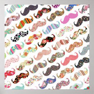 Lustige Girly bunte Muster-Schnurrbärte Poster