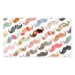 Lustige Girly bunte Muster-Schnurrbärte Visitenkarte