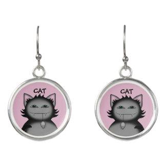 Lustige graue Katze Ohrringe