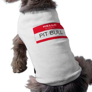 Lustige Grube Stier mein Name ist Namensumbau-Hund Ärmelfreies Hunde-Shirt