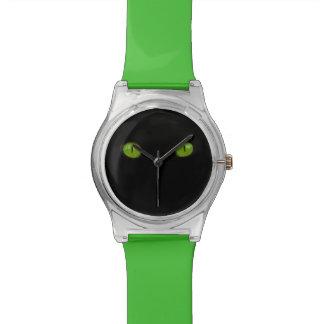 Lustige grüne Katzenaugen Uhr