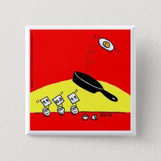Lustige Gymnastik Eggs hellen roten Cartoon-Knopf Quadratischer Button 5,1 Cm