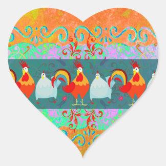 Lustige Hahn-Henne-flippige Huhn-Vieh-Geschenke Herz-Aufkleber