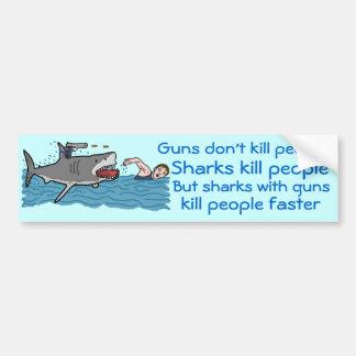 Lustige Haifisch-Gewehr-Kontrolle Autoaufkleber