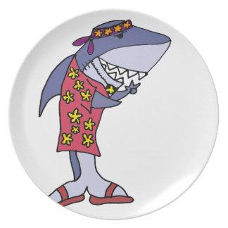Lustige Haifisch-Hippie am Strand Melaminteller