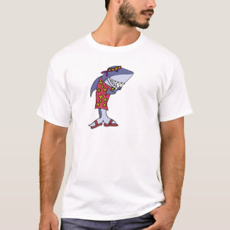 Lustige Haifisch-Hippie am Strand T-Shirt