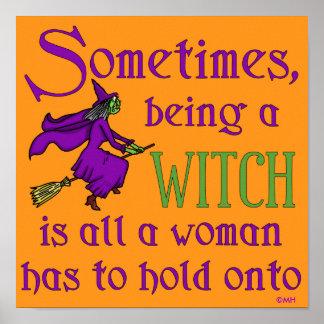 Lustige Halloween-Hexe Poster