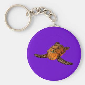 Lustige Halloween-Schildkröte Standard Runder Schlüsselanhänger