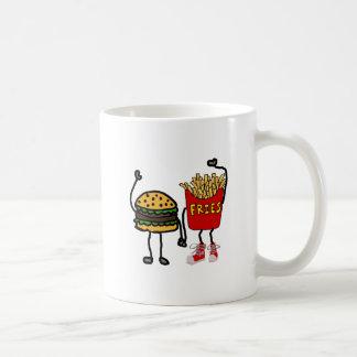 Lustige Hamburger-und Pommes-FritesCartoon-Kunst Kaffeetasse