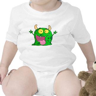 Lustige Hand gezeichnete grüne Monster-Cartoon-Kun Baby Strampler