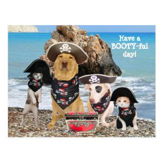 Lustige Haustier-Piraten-Tagespostkarte Postkarte