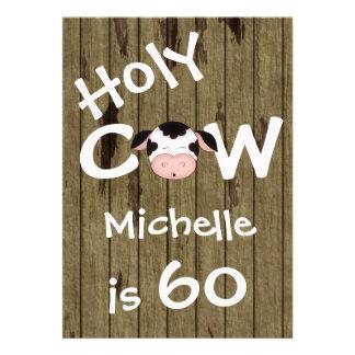 Lustige heilige Kuh-60. Geburtstags-Party Individuelle Einladung