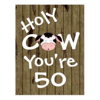 Lustige heilige Kuh sind Sie die 50 Geburtstags-Po Postkarten
