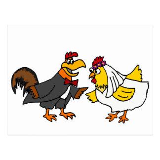 Lustige Henne-Braut-und Hahn-Bräutigam-Hochzeit Postkarte