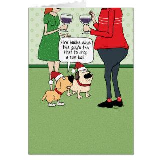 Lustige Hunde an der Party-Weihnachtskarte Karte