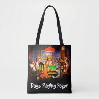 Lustige Hunde, die Poker spielen Tasche