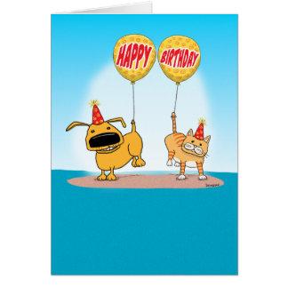 Lustige Hunde-und Katzen-Geburtstags-Karte Karte