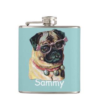 lustige HundeHipster-Mopsflasche Flachmann