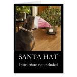 Lustige HundWeihnachtsmannmütze-Weihnachtsgrußkart