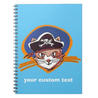 lustige Illustration der Pirat Kitty-Cartoon-Art Spiral Notizblock