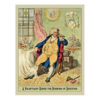 Lustige Illustration durch James Gillray Postkarte