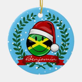 Lustige jamaikanische Flaggen-Weihnachtsart Keramik Ornament