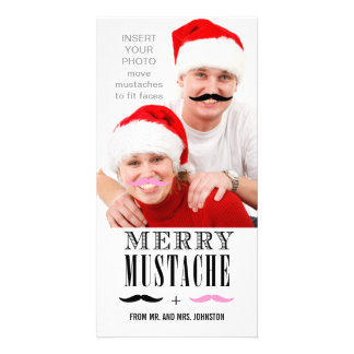 Lustige Jungvermählten der Schnurrbart-WeihnachtsF Bilderkarten