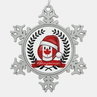 Lustige kanadische Flaggen-Weihnachtsart Schneeflocken Zinn-Ornament