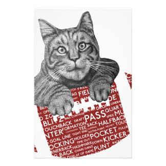 Lustige Katze amerikanischer Fußball der Briefpapier