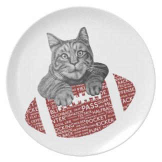 Lustige Katze amerikanischer Fußball der Melaminteller