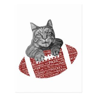 Lustige Katze amerikanischer Fußball der Postkarte