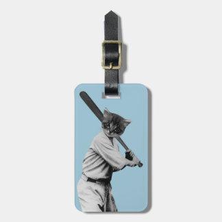 lustige Katze des Vintagen Baseballs Gepäckanhänger