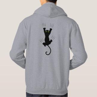 Lustige Katze, die mit Greifern fällt und grabing Hoodie