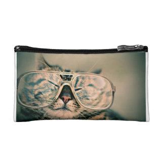 Lustige Katze mit Gläsern Makeup-Tasche