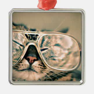 Lustige Katze mit Gläsern Quadratisches Silberfarbenes Ornament