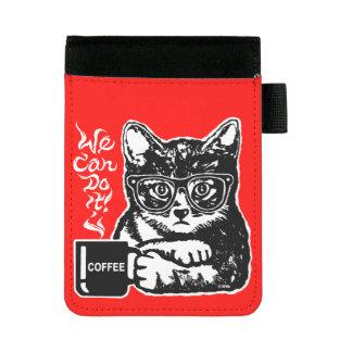 Lustige Katze motiviert durch Kaffee Mini Padfolio