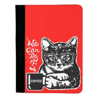 Lustige Katze motiviert durch Kaffee Padfolio