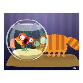 Lustige Katze und Fische Postkarte