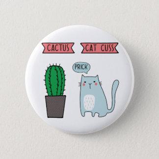 Lustige Katze und Kaktus Runder Button 5,1 Cm