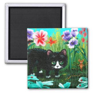 Lustige Katzen-Mäuse Creationarts Quadratischer Magnet