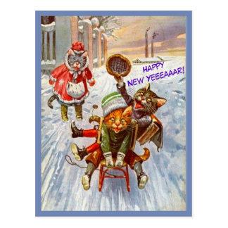 Lustige Katzen-neues Jahr-Postkarten-Vintage Postkarte