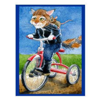 Lustige Katzen-Reitdreiradpostkarte Postkarte