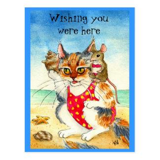 Lustige Katzen-u. Mäusestrand-Ferienpostkarte Postkarte