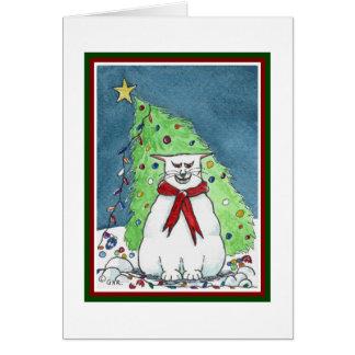 Lustige Katzen-Weihnachtskarte Karte