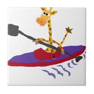 Lustige Kayaking Giraffe Fliese