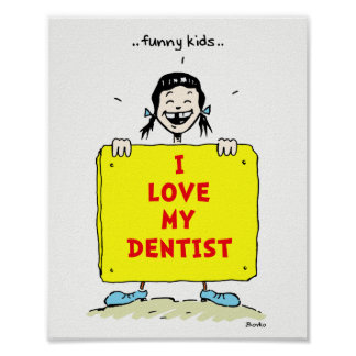 Lustige Kinderpositives zahnmedizinisches Poster
