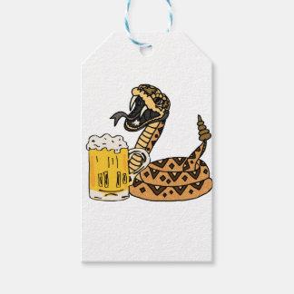 Lustige Klapperschlangen-trinkendes Bier Geschenkanhänger