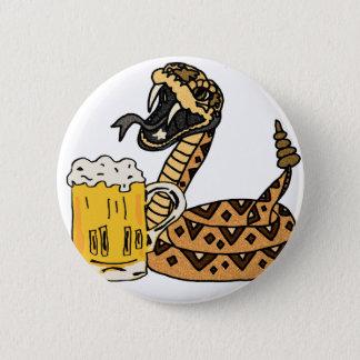 Lustige Klapperschlangen-trinkendes Bier Runder Button 5,7 Cm